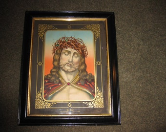 """ECCE HOMO (Behold The Man) Antique Color Print Of Jesus Christ With Crown Of Thorns In Original Frame 17 1/2"""" x 21 1/4"""" Gold Self Border"""
