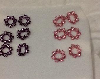 Pink & Purple Shimmer Flower Rings