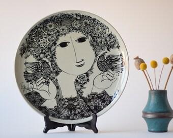 "14"" Huge & Rare! Bjørn Wiinblad for Nymølle - METTE - wall plate - seventies - Danish pottery midcentury"