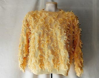 Sz L Cotton Shaggy Top Sweater - Yellow - 80s David Brett - Made in USA