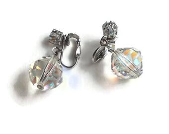 Summer outdoors  Earrings Beautiful Vintage Laguna Aurora Borealis Faceted Crystal Clip On Earrings Silver Tone Metal Clear Crystal Earrings