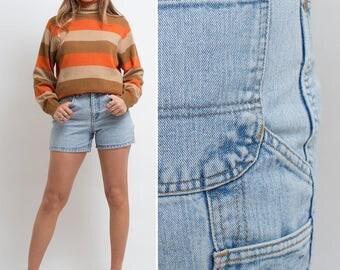 Vintage HIGH WAISTED 80s Breaker short denim JEAN shorts blue vintage denim jean summer shorts