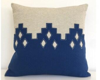 "Moroccan Diamond Pillow in Blue Felt + Oatmeal Linen, 16"" square"