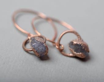 amethyst delicate earrings original dangle copper earrings womens gift for her