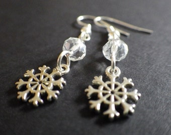 Winter Ice and Snow- Silver Snowflakes- Handcrafted Dangle Earrings- Nature- Woodland- Christmas- Stocking Stuffer- Gift for Her- Woman