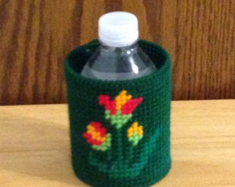 Flower Can & Bottle Can Cooler, Plastic Canvas, Needlepoint Gift, Gift for Him, beverage insulator, Summer Item, Gift for Her