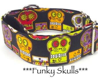 Martingale Dog Collar, bright skulls, skull dog collar, sugar skulls, funky skulls