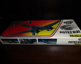 Vintage Heller  1/72 Scale POTEZ 631 Plastic Model Kit Made in France  Sealed in Original Box