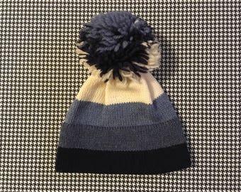 1980's, wool, pom pom, ski hat, in cream, and gradating blues, Adult size