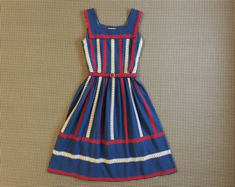 1950's/60s, German, sailor neck, dress, in blue, with red and white, embroidered stripes, Women's size Medium