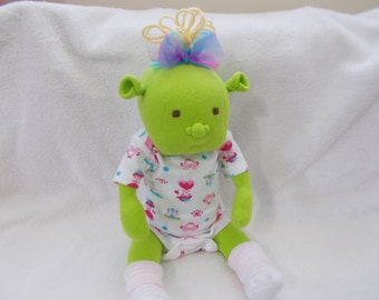 "16"" Baby Ogre Girl cloth Doll handmade OOAK soft sculpted Brown Embroidered Eyes Waldrof Inspired plush stuffed Easter Christmas Shrek toy"