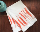 hand printed towel, screen printed towel, carrots, orange, flour sack towel, eco-conscious gift, shower gift under 50, hostess gift under 50