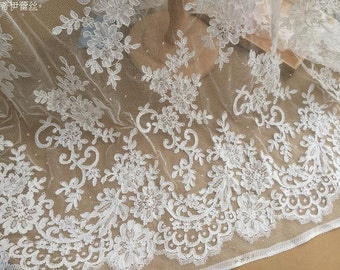Soft White Alencon Lace Fabric, Bridal Lace Farbric , Wedding Gown Dress Haute Couture Fabric by Yard