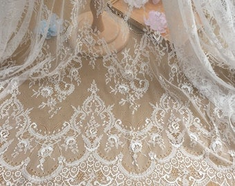 3 yard Vintage style chantilly lace fabric in ivory , bridal wedding gown dress fabric lace , wedding boutique fabric by 3 yards