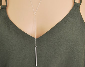 Simple Y necklace - Dainty Bar Drop Necklace - Delicate Bar Lariat Necklace Y Necklace - Dainty chain in 14k gold fill/14k rose gold/silver