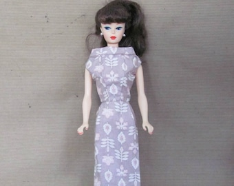 Vintage Barbie Clothes, 1960's Handmade Barbie Dress, Pink Sheath Dress