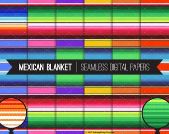 "Mexican Blanket Serape Stripes Seamless Digital Papers for Cinco de Mayo or Fiesta Party, Scrapbook. 12""x12"" & 8""x11"" JPGs. INSTANT DOWNLOAD"
