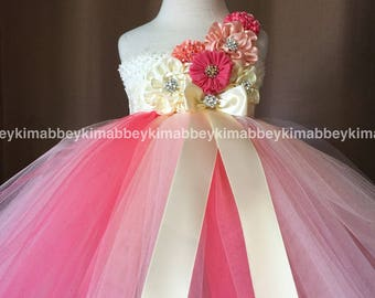 beautiful flower girl dress in ivory,peach and  coral