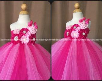 beautiful flower girl tutu dress, princess dress in fuchsia and pink
