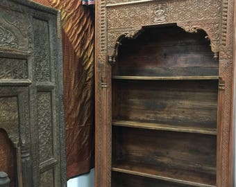 Antique Arched hUGE Bookcase OLD WORLD India ARCH Ganesha Carved Teak Wood Book Shelf 18C Eclectic Southern Unique