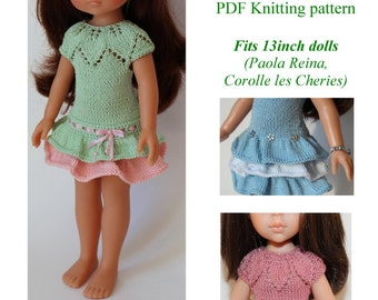 PDF Knitting pattern ANGELINA DRESS Fits 13 inch dolls (Paola Reina, Corolle les Cheries)