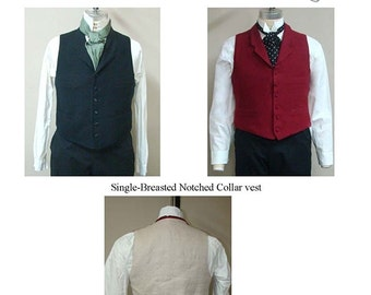 Men's Single Breasted Notched Collar Vest Sizes 34-58 circa 1870-1915 Laughing Moon Bijoux Sewing Pattern #3