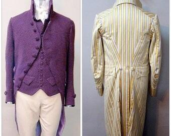 Men's Late Georgian Coat circa 1795-1810 sizes 34-56 Laughing Moon Costume Sewing Pattern # 124