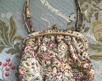 Vintage INGBER Floral Tapestry Purse