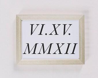 Personalized Calligraphy Print - Roman Numerals