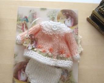 dollhouse baby doll clothes knitted outfit embroidered 12th scale peach