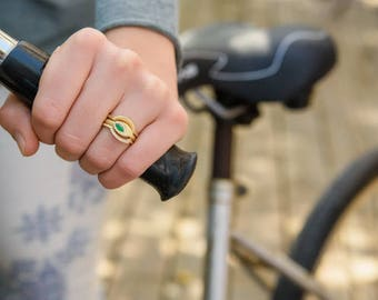 Emerald engagement ring, art deco ring, emerald ring, edwardian ring, edwardian engagement  ring, emerald diamond ring, wedding ring set