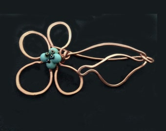 Forged copper flower scarf pin with turquoise / shawl pin /  copper brooch / turquoise scarf pin / copper scarf pin / FP1701 FREE SHIPPING!