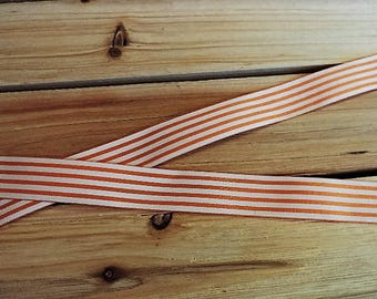Orange and white striped ribbon - 3 yards