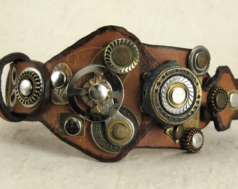 382 Steampunk Burning Man Assemblage Palimpsest Bracelet Recycled Jewelry Industrial Machine Age
