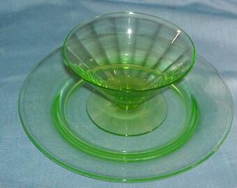 Green Vaseline Glass Optic Sherbet and Salad Plate