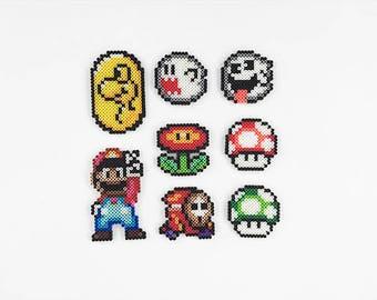 Super Mario Perler Bead Sprites SNES