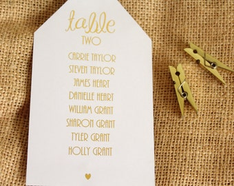 Wedding Table Plan Luggage Tags with Table Numbers & Guests Names in Gold/ Silver/Rose Gold/Champagne Gold/ Colour Foils
