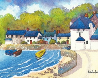 Watercolour Print, Dale, Pembrokeshire, West Wales, 8ins x 6ins, Gift Idea, Art And Collectibles