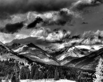 Snowy Colorado Mountains - Black and White - INSTANT DOWNLOAD - HDR - diy digital image