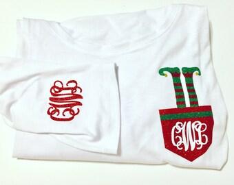 Fun Christmas shirt! Elf and monograms!