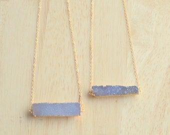 Sparkling Purple Druzy Necklace- Purple Druzy Bar Necklace- BAR NECKLACE- Gold Druzy Necklace- Druzy Necklace- Genuine Druzy