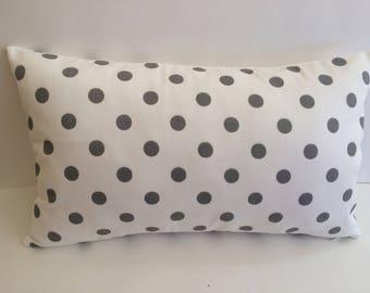 Grey Polka Dots Pillow Cover, 12''x20'' Nursery Decor Pillow Cover, Girls Pillow Cover
