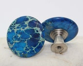 Turquoise Blue Sea Sediment Jasper Cabinet Knobs, Kitchen, Bathroom, Cabinet Fixture, Cabinet Knob, Drawer Pull, Drawer Fixture
