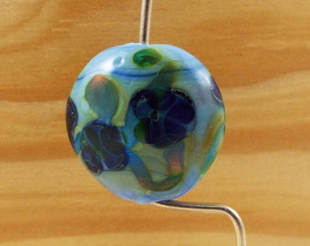 Blue Lampwork Bead: Floral Focal Bead, Silver Glass