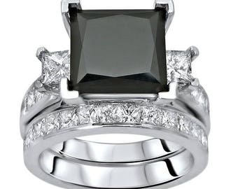 Black Princess Cut Diamond Engagement Ring Bridal Set 5.25ct 14k White Gold