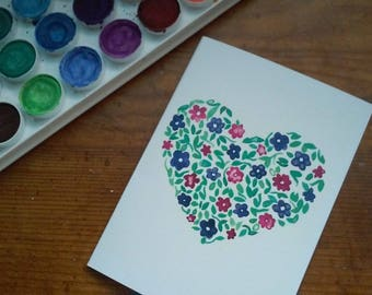 """Watercolor Floral Heart Card - 4""""x5.5"""""""