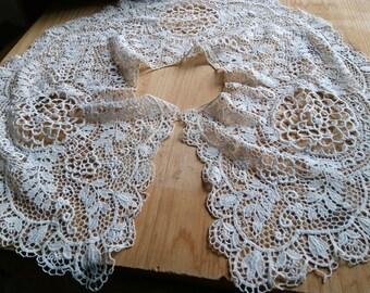 Projet de couture de mariée collier antique Fine Guipure dentelle Collier Collier Floral blanc coton dentelle #sophieladydeparis