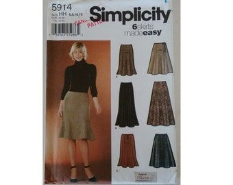"""UNCUT Simplicity 5914 6 Skirts Made Easy Sewing Pattern ca 2002 4 Sizes UK 6 8 10 12 Waist 23"""" 24"""" 25"""" 26.5"""""""