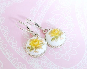 Yellow Rose Cameo Earrings, Dangle Drop Earrings, Roses on White, Set in Sterling Silver