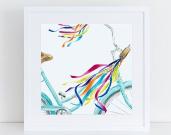 Playful Beach Cruiser Streamers Fine Art Watercolor Print